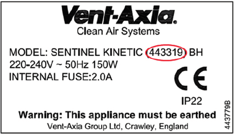 label on vent-axia product