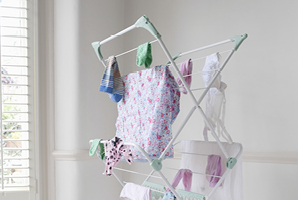 Hanging laundry indoors